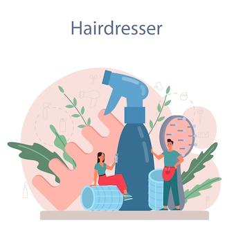 Иллюстрация ухода за волосами и укладки