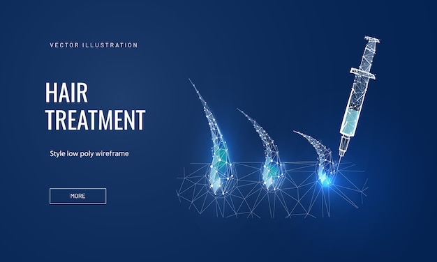Hair treatment concept in polygonal futuristic style for banner