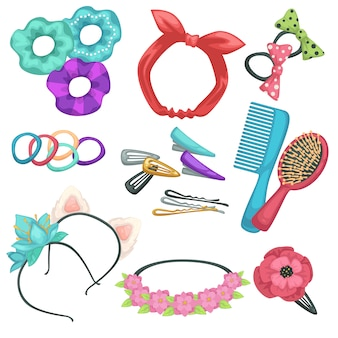 Hair tyling accessories, headbands and combs with hairpins