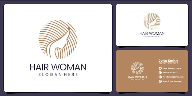 Hair woman beauty logo and business card template