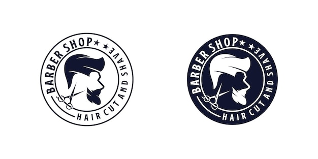 ヘアカットのロゴデザインのインスピレーション、ヴィンテージデザインの理髪店