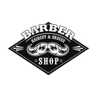 Logo del salone di taglio di capelli con baffi monocromatici, campione di testo