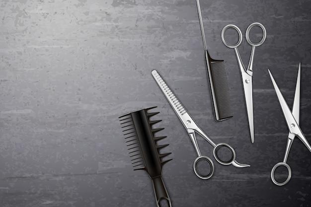 Fondo degli strumenti di lavoro di parrucchiere con il pettine e le forbici sulla tavola realistica