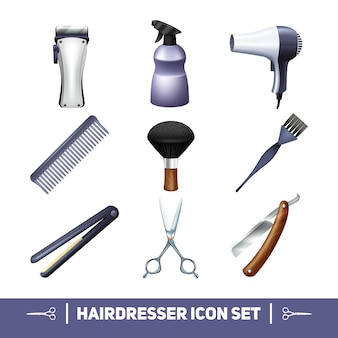 Hairdresser accessories and barber profession equipment icons set