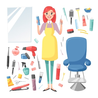 Парикмахерская парикмахерская девушка набор.