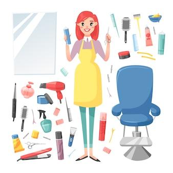 Hairdresser barber girl  set.