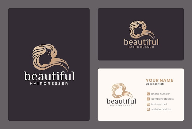 Hairdresser, beauty salon, woman face, skin care logo design with business card template.