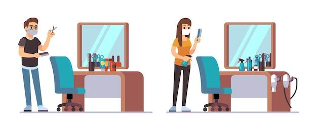 Парикмахерские персонажи. добро пожаловать в парикмахерскую, мужчины-женщины-парикмахеры ждут клиентов. мужчина женщина стилисты стулья, аксессуары для стрижки и зеркала векторные иллюстрации. парикмахерская с командой парикмахеров