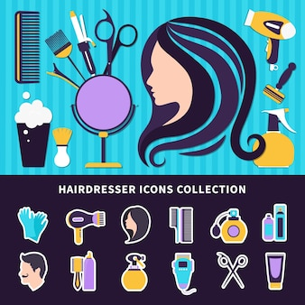 Hairdresser colored composition with elements of style and tools for barbershop and beauty salon