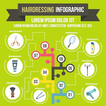 Hairdresser infographic in flat style for any design