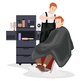 A hairdresser is tidying his customers hair using various tools