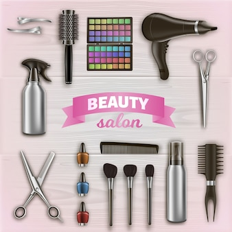 Hairdresser tools and cosmetics on wooden surface