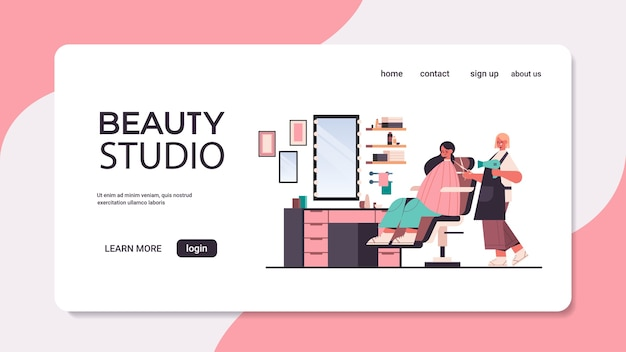 Hairdresser using hair dryer and scissors making hair style to client in beauty salon horizontal landing page copy space full length vector illustration