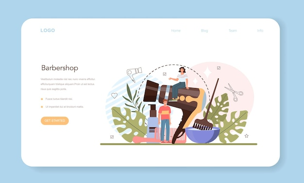 Hairdresser web banner or landing page idea of hair care in salon