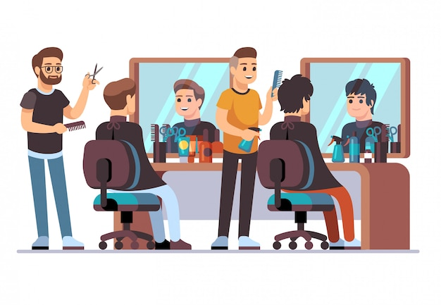 Hairdresser with client. barbers doing male stylish haircut in barbershop interior with mirrors. beauty salon vector illustration