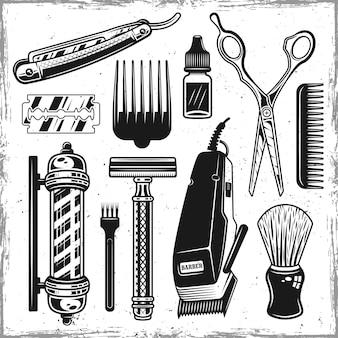 미용사 도구 및 이발소 검은 개체 또는 디자인 요소 집합