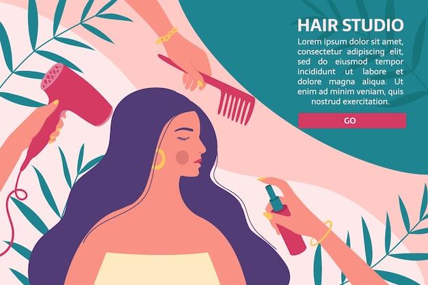 전문 도구를 갖춘 미용사는 긴 여성의 머리카락과 헤어 스타일을 관리합니다.