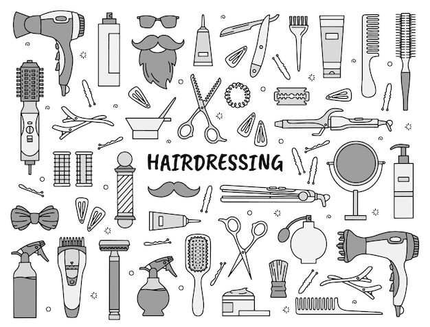 Hairdressing and barbershop tools set of icons in the doodle style for beauty salon