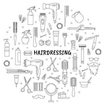 Hairdressing and barbershop tools set of icons in the doodle style