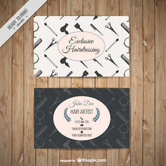 Hairdressing business card with tools silhouettes