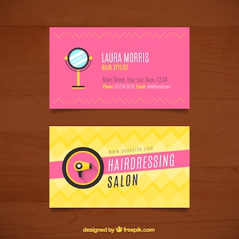 Hairdressing cards with mirror and hairdryer