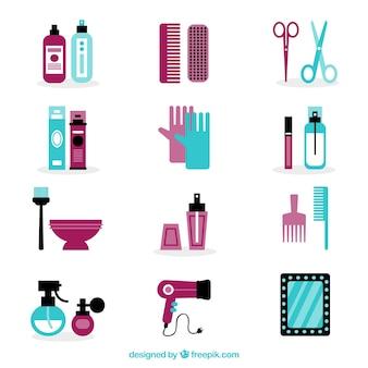 Hairdressing elements set in flat design