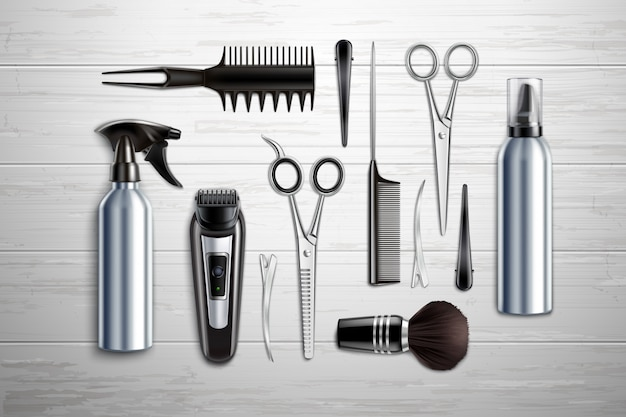 Hairdressing salon barber shop tools collection realistic top view with scissors trimmer clipper monochrome wooden table vector illustration