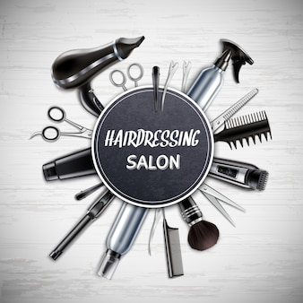 Hairdressing salon barber shop tools realistic round composition with scissors hairdryer trimmer monochrome vector illustration