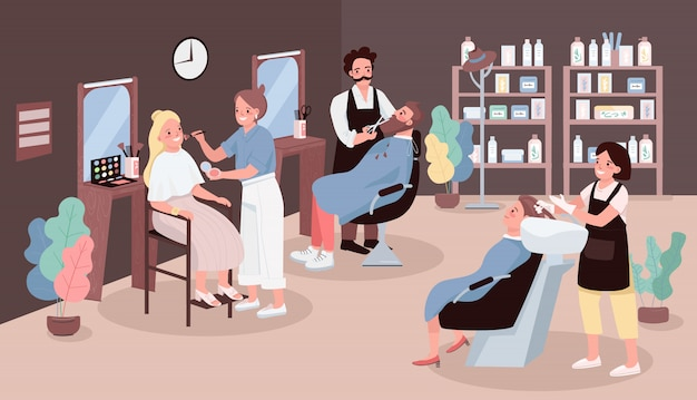 Парикмахерская цветная иллюстрация. человек стричь бороду. парикмахер, мытье волос женщины. художник наносит макияж. стилисты героев мультфильмов с мебелью салона красоты на фоне