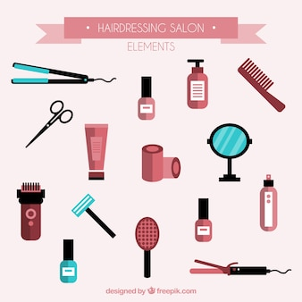 Hairdressing salon elements set