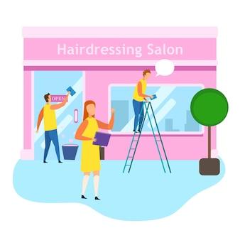 Hairdressing salon female owner check prepare open