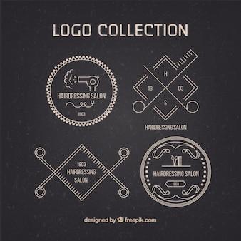 Парикмахерская логотип коллекция