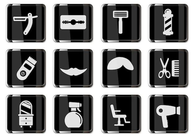 Пиктограммы парикмахерской в черные хромированные кнопки. набор иконок для вашего дизайна. векторные иконки
