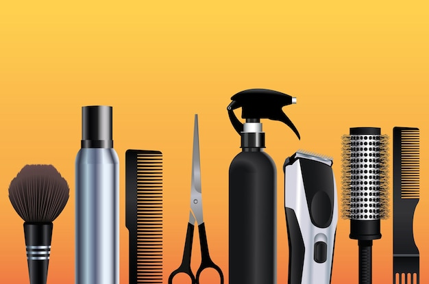 Hairdressing tools equipment icons in orange background  illustration