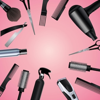 Hairdressing tools equipment icons in pink background  illustration