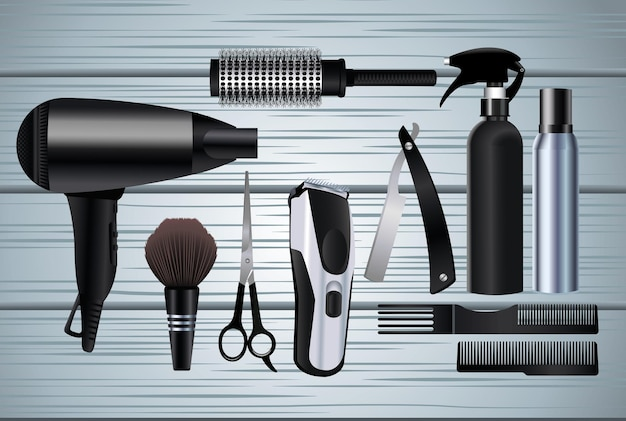 Hairdressing tools equipment icons in wooden background  illustration