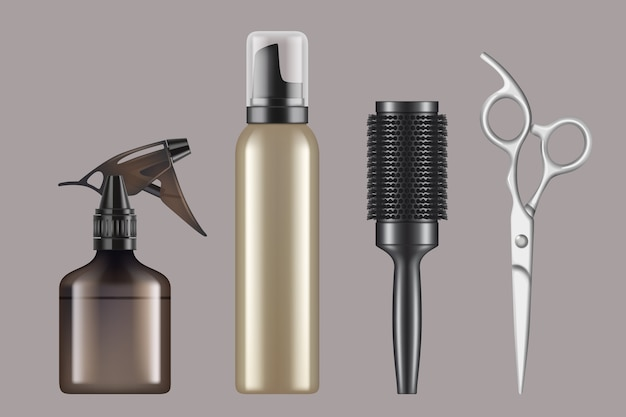 Hairdressing tools. haircut hairstylist barbershop items hair dryer scissors shaving machine realistic. illustration equipment haircut, comb and brush