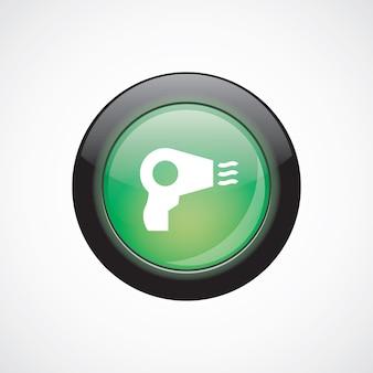 ヘアドライヤーガラスサインアイコン緑の光沢のあるボタン。 uiウェブサイトボタン
