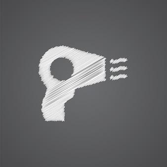 暗い背景で隔離のヘアドライヤースケッチロゴ落書きアイコン