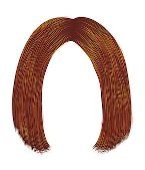 Волосы рыжего цвета каре пробор.
