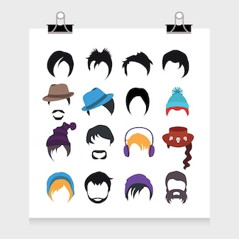 Hairstyle icons collection