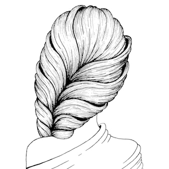 Hairstyle ink drawing