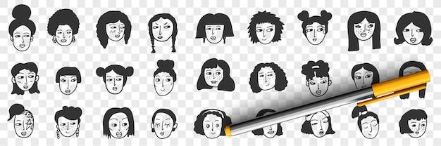ブルネットの女性の落書きセットの髪型