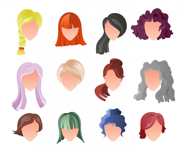 Hairstyle silhouette set