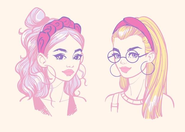 머리띠가 있는 헤어스타일 헤어 액세서리가 있는 어린 소녀의 컬러 초상화
