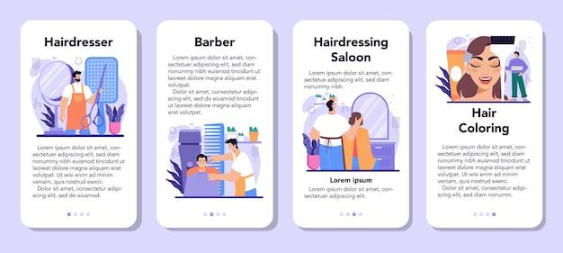 ヘアスタイリストモバイルアプリケーションバナーセット。サロンでの理髪のアイデア。はさみとブラシ、シャンプーとヘアカットのプロセス。ヘアカラーとスタイリング。孤立したベクトル図