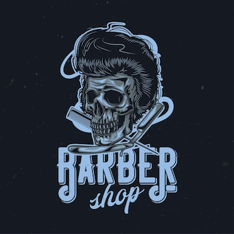 Hairy skull, razor and comb illustration