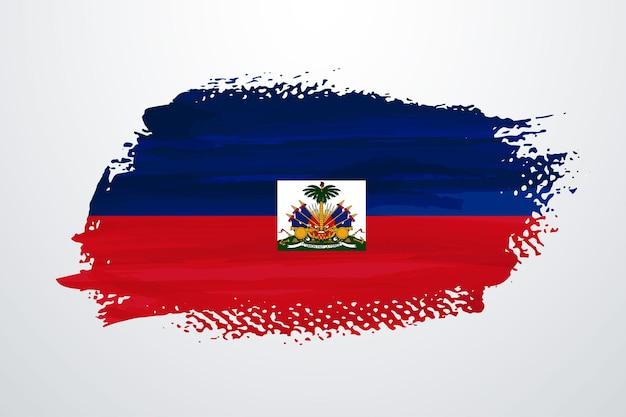 Haiti brush paint flag