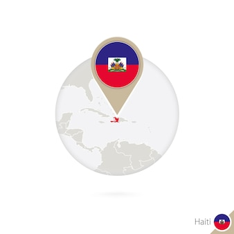 Карта гаити и флаг в круге. карта гаити, булавка флага гаити. карта гаити в стиле земного шара. векторные иллюстрации.
