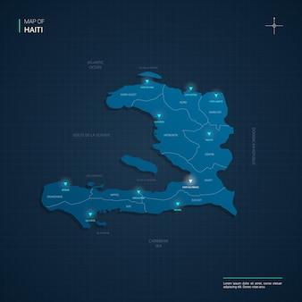Haiti map with blue neon lightpoints - triangle on dark blue gradient